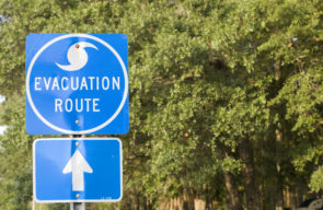photo of hurricane route sign