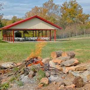 Event pavillion and fire pit Aliabaad Farm 4040 Mills Rd