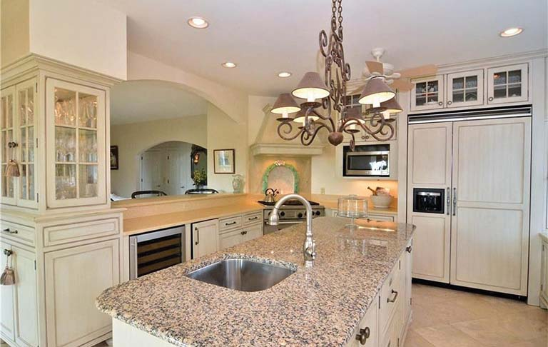 This oceanfront Rehoboth Beach, Delaware, home, listed with the City2Beach team, has granite kitchen counters.