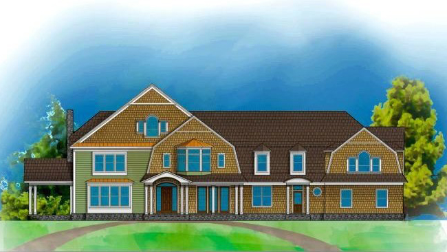 As shown in the rendering, this newly constructed, 15,000-square-foot classic home is graced with all the fine finishes and details, including intricate crown molding and a gourmet kitchen with high-end appliances.