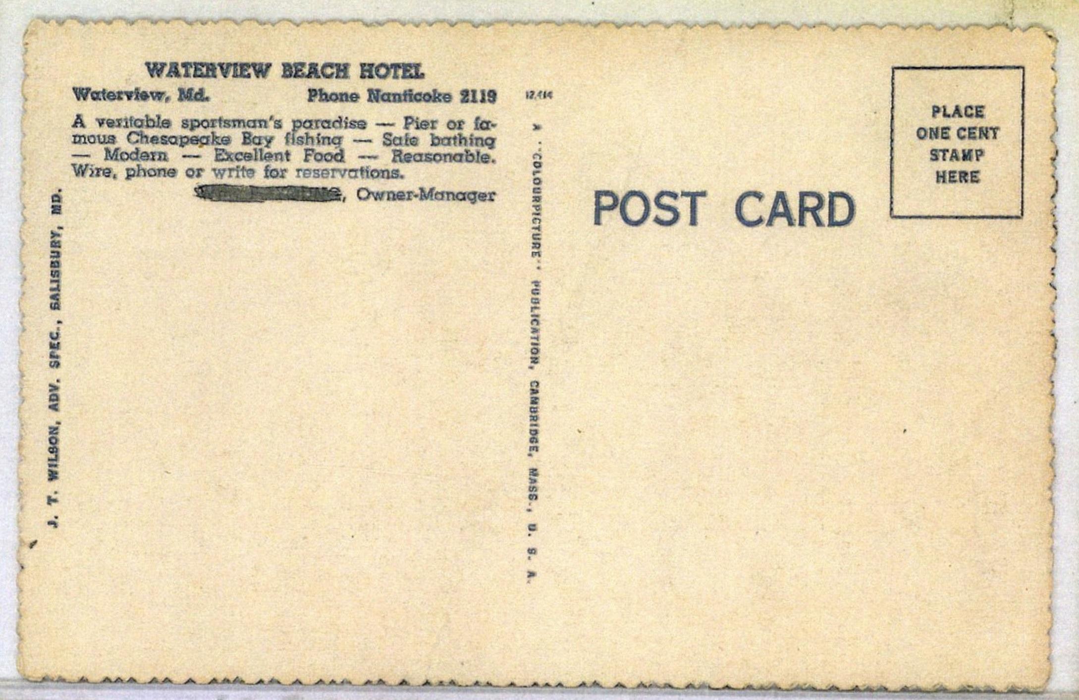 Waterview Beach Hotel Postcard