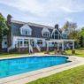 Backyard of home and pool